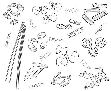 macarrones: Diferentes tipos de pasta - dibujado a mano ilustración