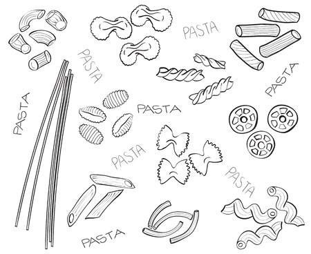 eating noodles: Different types of pasta - hand-drawn illustration