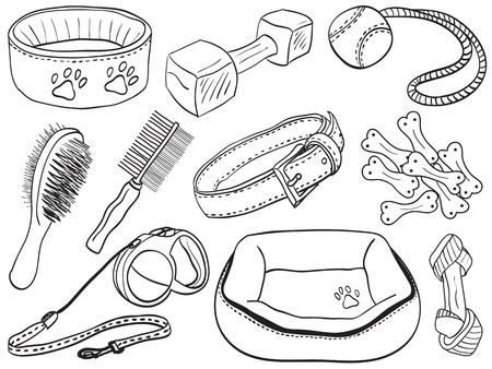 accessoire: Accessoires pour chiens - �quipement pour animaux dessin�es � la main des illustrations, des croquis de style