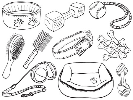 Dog accessories - pet equipment hand-drawn illustration, sketch style Vector