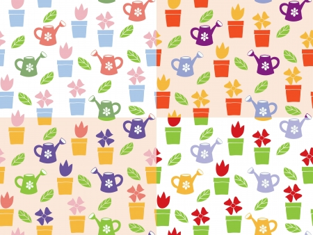 Gardening - flowers and watering can - background seamless pattern, four tiles Stock Vector - 13675801