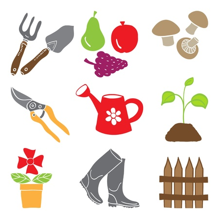 home gardening: Colored gardening icons isolated on white background - tools and plants