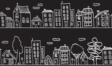 buildings town home: Illustration of houses and buildings - small town seamless pattern