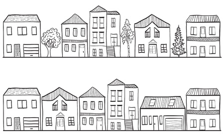 house drawing: Illustration of houses and trees- small town background pattern