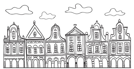 Illustration of old decorated village houses - background pattern