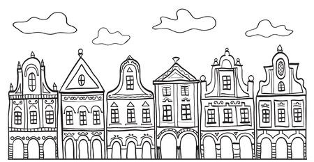 olanda: Illustrazione di vecchie case del paese decorate - motivo di sfondo
