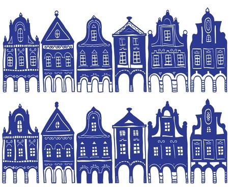 olanda: Illustrazione di vecchie case del paese decorate - sfondo Patten Vettoriali