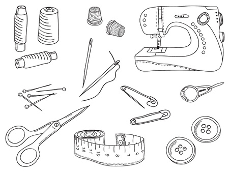 Sewing stuff and tools - hand-drawn illustration Vector