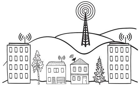 Hand getrokken illustratie van het draadloze signaal van internet in de huizen in de stad