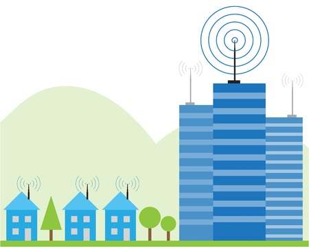 wireless tower: Illustration of wireless signal of internet into houses in city Illustration