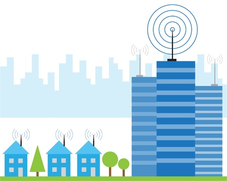 global village: Illustration of wireless signal of internet into houses in city Illustration