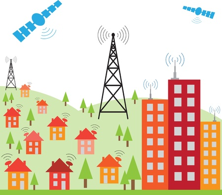 satellite transmitter: Illustration of wireless signal of internet into houses in city Illustration