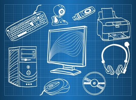 Blueprint of computer hardware - peripheral devices, sketch style Vector
