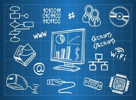 tecnologia: Blueprint di hardware e simboli delle tecnologie dell'informazione - in stile schizzo