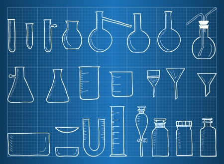 Blueprint of chemical laboratory equipment and glass Vector