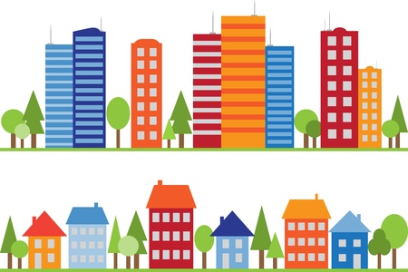 town modern home: Seamless pattern of city, town or village with trees
