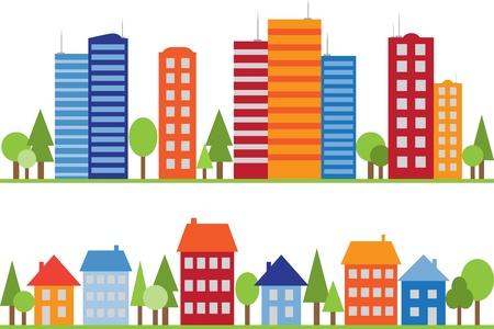 row of houses: Sin fisuras patr�n de la ciudad, pueblo o aldea con los �rboles Vectores