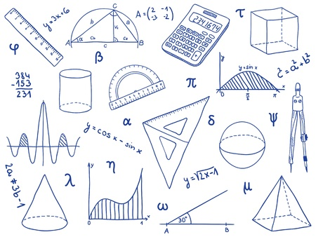trigonometry: Illustration of mathematics - school supplies, geometric shapes and expressions