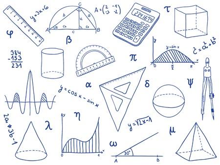 signos matematicos: Ilustraci�n de las matem�ticas - los �tiles escolares, formas geom�tricas y las expresiones Vectores