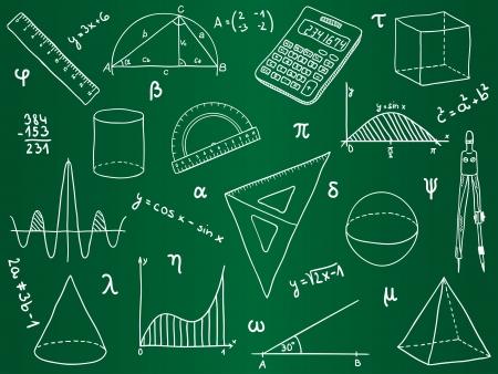 fournitures scolaires: Illustration des math�matiques - des fournitures scolaires, des formes g�om�triques et des expressions sur la commission scolaire