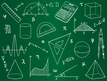 trigonometry: Illustration of mathematics - school supplies, geometric shapes and expressions on school board
