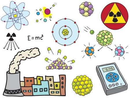 PROTON: Illustration of Physics - atomic nuclear energy - hand-drawn symbols Illustration