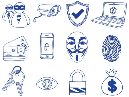 identity protection: Illustration of security and hacking  - hand-drawn icons Illustration
