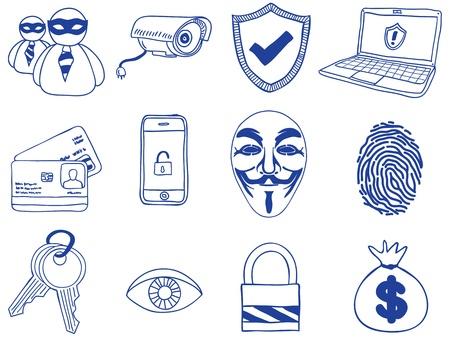 hacking: Illustrazione di sicurezza e di hacking - le icone disegnate a mano