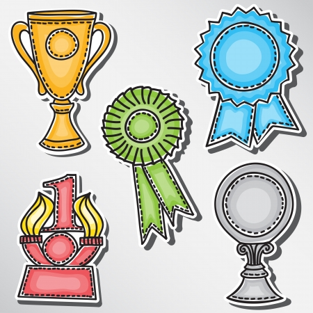 first place: Trophies and awards set - stickers -hand-drawn illustration