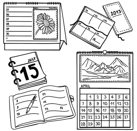 Conjunto de calendarios aislados en el fondo blanco - ilustración dibujado a mano