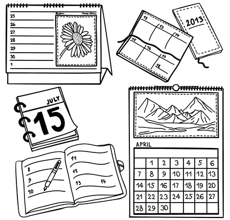 agenda year planner: Set of calendars isolated on white background - hand-drawn illustration
