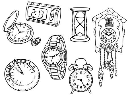 cadran solaire: Lot de montres et horloges isol� sur fond blanc - illustration dessin�e � la main