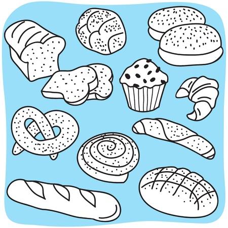 bagel: Bakkerijproducten, brood en de ontbijtgranen goederen - met de hand getekende illustratie