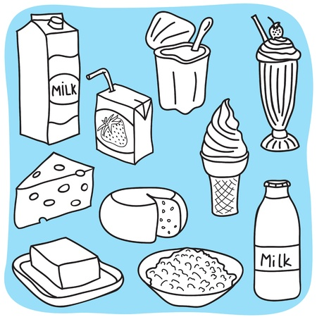 milk production: Drawing of diary and milk products - hand-drawn illustration