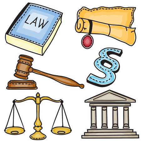 judicial system: Set de iconos judiciales aisladas sobre fondo blanco - dibujado a mano ilustraci�n
