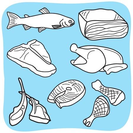 Dessin de la viande, du poisson et de la volaille - illustration dessinée à la main