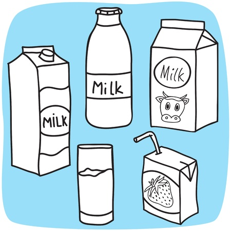 milk cow: Drawing of milk and diary products - hand-drawn illustration