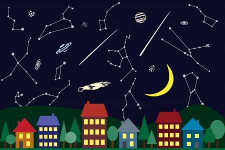 cluster house: Illustration of night sky above the city - astronomical phenomena