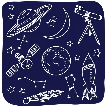 luna caricatura: Dibujo de objetos astron�micos - dibujado a mano ilustraci�n