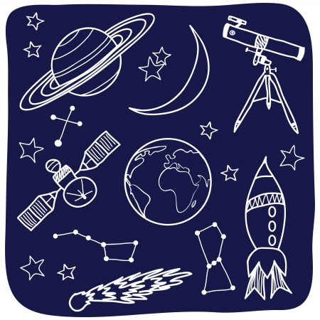 outer: Drawing of astronomical objects - hand-drawn illustration