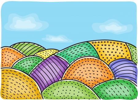 Illustrazione di campi agricoli - disegno multicolore, disegnati a mano di fondo
