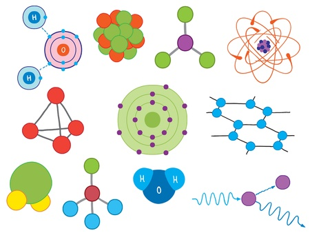 atomic energy: Illustration of atoms and molecules - chemistry or physics symbols Illustration