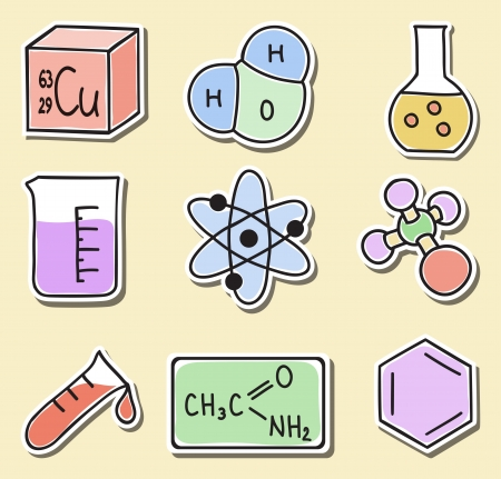 Illustration of chemistry icons - hand-drawn pictures - stickers