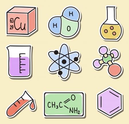 quimica organica: Ilustración de los iconos de la química, dibujados a mano imágenes - pegatinas Vectores