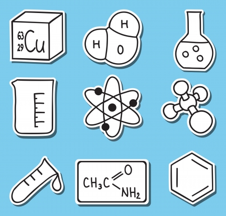 organic chemistry: Illustration of chemistry icons - hand-drawn pictures - stickers