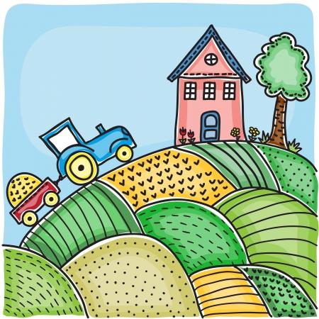 yellow tractor: Ilustraci�n de los campos agr�colas, de la casa en la colina y el tractor - dibujado a mano foto
