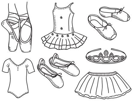 ballet slipper: Set of ballerina accessories - hand drawn illustration