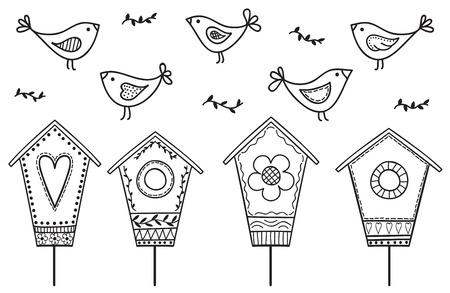 birdhouse: Birds and birdhouses - stylized hand drawn illustration Illustration