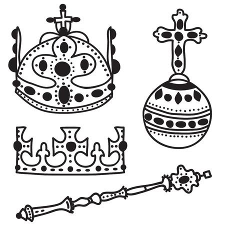 monarchy: Set of  crown jewels - hand drawn illustration Illustration