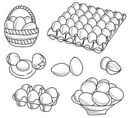 huevo caricatura: Ilustraci�n de los huevos - imagen dibujada a mano